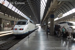 AVE Sevilla Santa Justa - Madrid Atocha -- AVE S100 nr 18 at Sevilla before departing to Madrid.