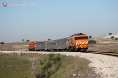 PTG Tours 13870/1 Funcheira - Minas de Neves Corvo -- Special passengers train on the freight-only branch to Neves Corvo.